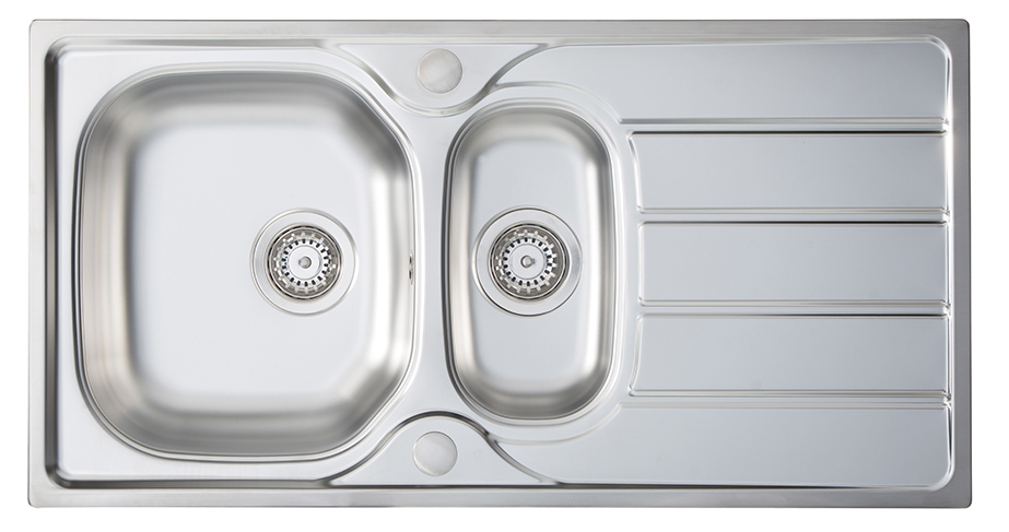 Homestyle KD150 `Pack` Kona 1 1/2 Bowl sink + HS605 Tap Inset Sink with tap Stainless steel
