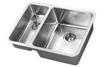 1810 LUXSODUO25 180/340U BBR 25mm Radius Corners LD/1834/U25/S/BBR/307 (Old overflow system) Undermount 1.5 Bowl Sink Stainless steel