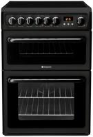 Hotpoint HAE60KS 60cm Double Oven And Ceramic Hob Freestanding Electric Cooker Black