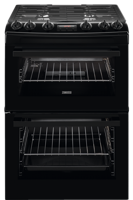 Zanussi ZCG63250BA 60cm Slot-in Gas Double Oven Cooker Black