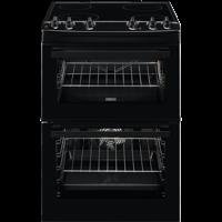 Zanussi ZCV66050BA 60cm Ceramic Double Oven Freestanding Electric Cooker Black