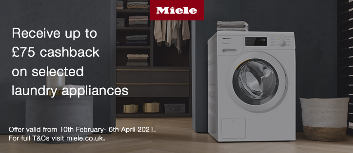 £75 Cashback on selected laundry appliances.
