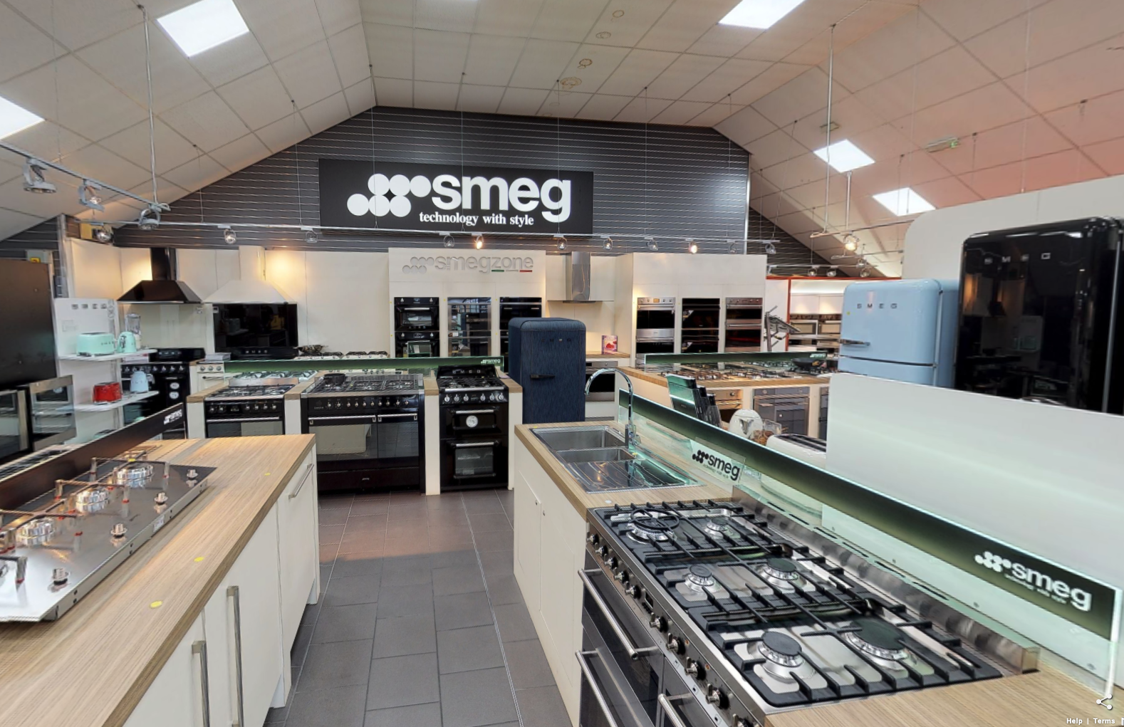 Smeg kitchen appliances on display in Liverpool Showroom